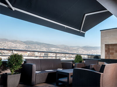 Photo of BQR awning on Sole panorama in Sarajevo.